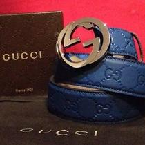 Authentic Blue Guccissima Gucci Belt 100cm Fits 34-36 Men Photo