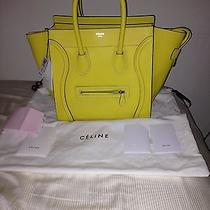 Authentic Bnwt Celine Mini Luggage Citron Yellow Drummed Leather Handbagpurse Photo