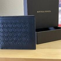 Authentic Bottega Veneta Brand New- Men's Classic Bi-Fold Wallet Navy Blue Photo
