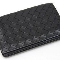 Authentic Bottega Veneta Intrecciato Leather Id Card Case Black 174646  Photo
