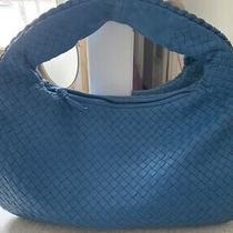 Authentic Bottega Veneta Signature Intrecciato Woven Blue Leather Hobo Bag Photo