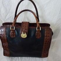 Authentic Brahmin Tuscan Collection Black Brown Croc Leather Satchel Bag Photo