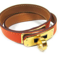 Authentic Brand New Hermes Orange Leather Kelly Bangle Bracelet Photo