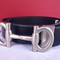 Authentic Brand New Salvatore Ferragamo Double Gancini Black Belt 2015 Photo