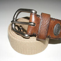 Authentic Brand New Size 40 Fossil Men's Khaki Canvas Brown Leather Belt Photo