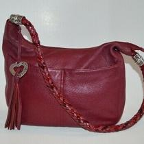Authentic Brighton Barbados Dark Red Maroon Pebbled Leather Hobo Handbag  Photo