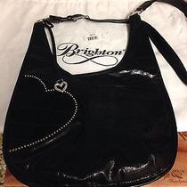Authentic Brighton Hip Heart Crossbody Black Leather Photo