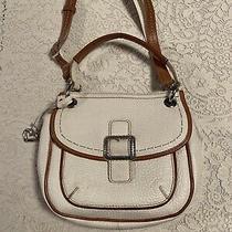 Authentic Brighton Parker Saddlebag Messenger White Tan H401802 Photo
