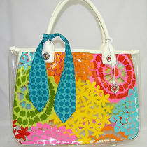 Authentic  Brighton See Through Plastic Multi Color Floral Large Handbag Photo
