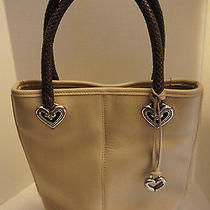 Authentic Brighton Silver Plate Hardware Tan Shopper Tote  Handbag Purse Photo