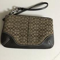 Authentic Brown Coach Signature Logo Wristlet With Leather Trim Photo