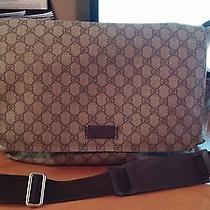 Authentic Brown Signature Gucci Diaper Bag Photo