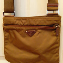 Authentic Brown Small Prada Nylon Flat Bag Purse Shoulder Crossbody Messenger  Photo