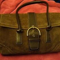 Authentic Brown Suede Coach Satchel Handbag. Photo