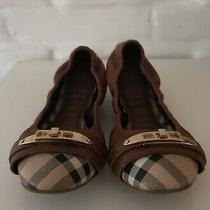 Authentic Burberry Ballerina Flats Brown Leather Size 38(us8) Photo