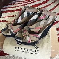Authentic Burberry Beige Nova Plaid Wedge Sandals Size 38 Photo