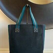 Authentic Burberry Blue Label Black Green Canvas Vertical Tote Hand/shoulder Bag Photo