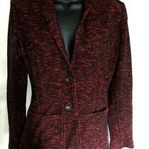 / Authentic Burberry Brit Red & Black Cotton Blend Womens Two Button Blazer Sz 6 Photo
