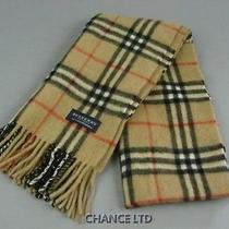 Authentic Burberry Brown Nova Check Pattern Cashmere Scarf Very Good Condition Photo