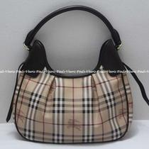 Authentic Burberry Haymarket Check Canvas & Leather Hobo Bag  Photo