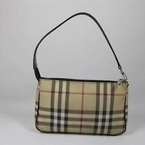 Authentic  Burberry Khaki Nova Check Clutch Bag W/ Leather Strap 525 Photo