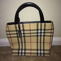 Authentic Burberry London Nova Check Handbag Bag Small Tote Brown Black Classic Photo