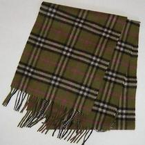 Authentic Burberry London Signature Plaid Cashmere Scarf Olive Green  Rare Photo