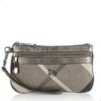 Authentic Burberry Lurex Wristlet Evening Bag Clutch Grey Photo