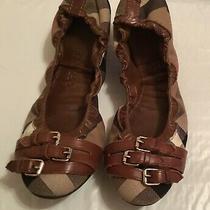 Authentic Burberry Nova Check Canvas/leather Ballet Buckle Flats Size 9 Photo