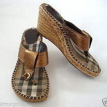 Authentic Burberry Nova Check Espadrille Wedge Thong Sandals Eur-38 Us-8 Photo