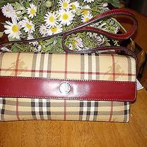 Authentic Burberry Tan Red Haymarket Check Flap Clutch Shoulder Bag Purse Mint  Photo