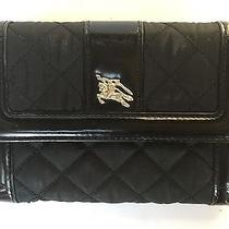 Authentic Burberry Tri-Fold Wallet Black Padded Fabric Italian Leather Logo Euc Photo