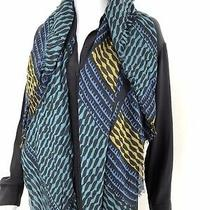 Authentic Burberry Tribal Print 100% Silk Scarf (Blue Green Yellow Black) Photo