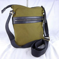 Authentic Burberry Turin Olive Green Canvas Crossbody Messenger Shoulder Bag Vgc Photo