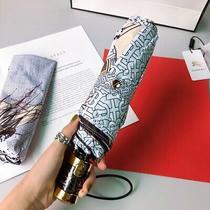 Authentic Burberry Umbrella Leopard Pattern Carbon Fiber Umbrella Bone Photo