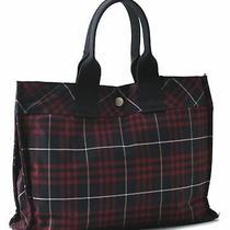Authentic Burberrys Blue Label Check Tote Bag Nylon Black Red B0596 Photo