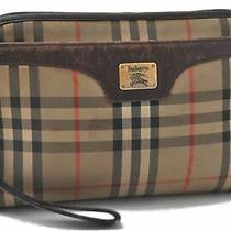 Authentic Burberrys Nova Check Clutch Bag Canvas Beige B4329 Photo