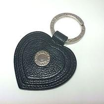 Authentic Bvlgari Black Leather Heart Charm Silver Key Holder Ring Accessories Photo