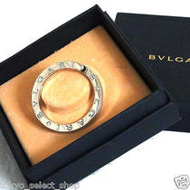 Authentic Bvlgari Key Ring Holder Sterling Silver Made Italy Box Good T2 Photo