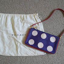 Authentic Bvlgari Silk Leather Trim Pattern Pendant Bag Clutch - Mint Condition Photo