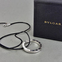 Authentic Bvlgari Sterling Silver 925 Logo Key Ring Necklace Made in Italy W/box Photo