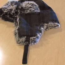 Authentic Carbon Elements Black Plaid Faux Fur Trapper Hat One Size New Photo