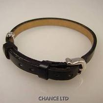 Authentic Cartier Black Leather and 18k White Gold Bracelet Excellent Condition Photo