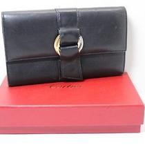 Authentic Cartier Black  Leather Long  Wallet  6558b Photo
