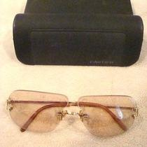 Authentic Cartier Gold Rimless Sunglasses With  Case - Pre-Owned  Beige / Brown Photo