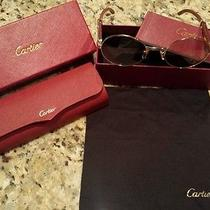 Authentic Cartier Gold & Wood Sunglasses Engraved Gradient Lenses %100 Authentic Photo