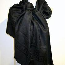 Authentic Cartier Paris Silk/wool 26x68 Black Scarf/shawl With Logo Made- Italy  Photo