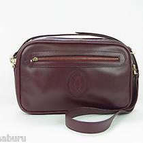 Authentic Cartier Paris Wine Red Genuine Leather Shoulder Bag Purse Photo