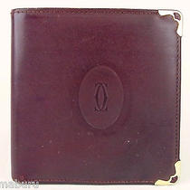 Authentic Cartier Paris Wine Red Leather Wallet Bifold Purse Photo