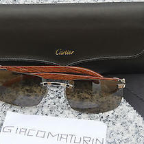 Authentic Cartier Rimless Bubinga Wood - Copper Lenses Photo